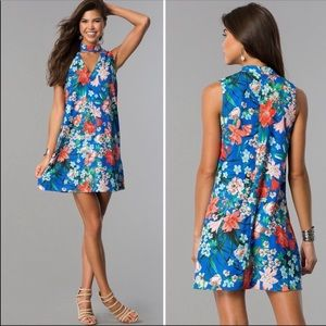 XOXO Floral Print Cobalt Blue Chocker Collar Dress